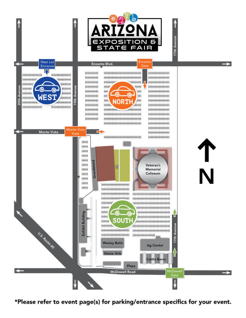 A Map Of Arizona State.Arizona State Fair Fairgrounds Map Azstatefair Com